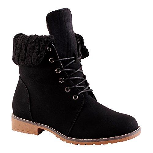 Schnür Boots Schuhe Damen Biker 2 Schwarz Stiefeletten Stiefel E7wqgtq