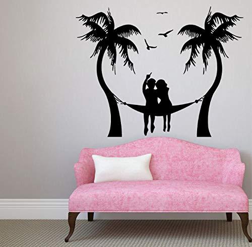 inyl wandaufkleber Paar entspannen Reise küste Bad Schule schlafsaal Home Art Deco wandbild 57x42 cm ()
