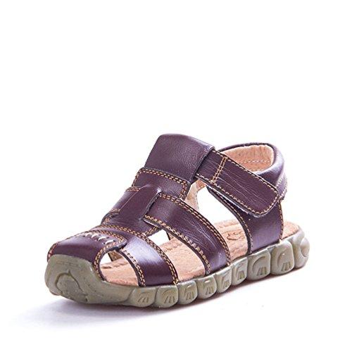 Unisex-Kinder Sandalen aus Leder Jungen Mädchen Geschlossen-Toe Sommer Strand Schuhe Outdoor Beach & Pool Trekkingsandalen Klettverschluss 21-36, Braun, 35 EU