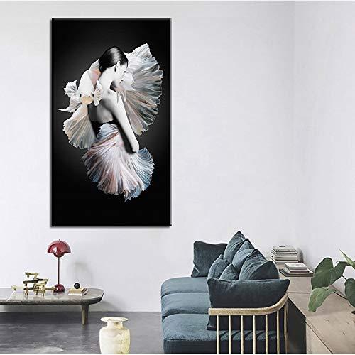 tzxdbh Die Kleine Meerjungfrau Poster und drucke wandkunst Bild Moderne Nordic Figuren leinwand malerei Dekoration Für Wohnzimmer-in einem Gr No Frame 60x90 cm -