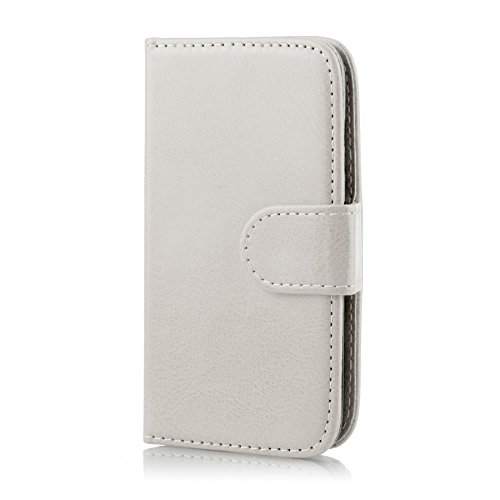 c7ea3d50a1d 32nd Book Wallet PU Leather Flip Case Cover For Samsung Galaxy Ace 4 (SM-G357FZ),  Design With Card Slot and Magnetic Closure - White