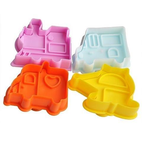 Leayao Lot de 4?emporte-pièces forme de voiture plungers gateau Moules Fondant Décoration Moule Moule de