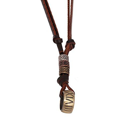 AIUIN Metalllegierung Legierung Echtleder Anhänger Halskette Kordelkette Golden Ring Einstellbar Verstellbaren 65-70CM Zoll Kette Herren,Damen