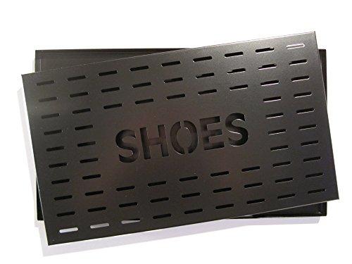 Metalltechnik & -Design Höllbacher Schuhabtropfschale Schuhablage Schuhschale Schuhwanne Schuhtablett für 2 Paar Schuhe 48 x 28 cm (schwarz)