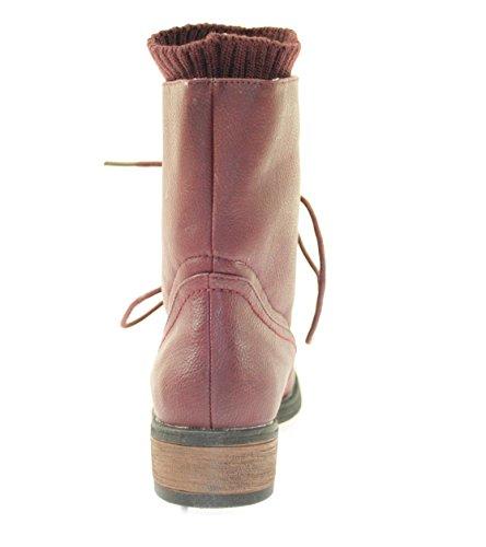 Boots Damenschuhe Farbe Rot zum Schnüren Rot