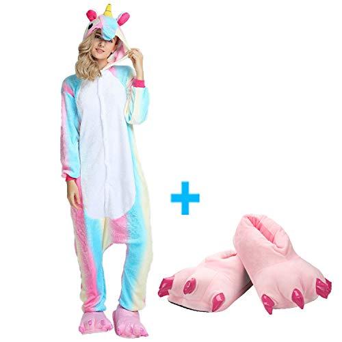 Mescara pigiama animali cosplay intero unisex costume halloween carnevale festa donna uomo animale sleepwear (xl per alto 178-188 cm, pantofole)