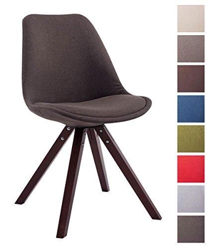 CLP Sedia dal design vintage TOULOUSE con gambe quadrate in legno color cappuccino, seduta in tessuto e imbottita. grigio scuro