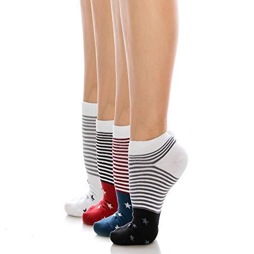 UARU Womens Low Cut Socken 4 Paare, Niedliche Lässige Bunt Gestreifte Baumwolle - Starr Gemusterte Paare