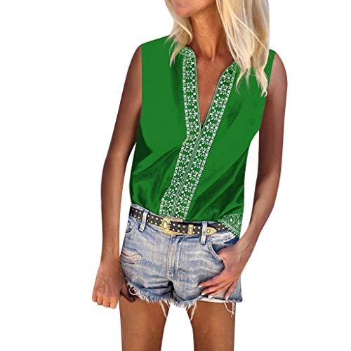 CUTUDE Damen T Shirt, Bluse Kurzarm Sommer Schulterfreie Strand Sonnencreme Böhmischer Nationalen Stil Ärmellose Bluse (Grün, XX-Large)
