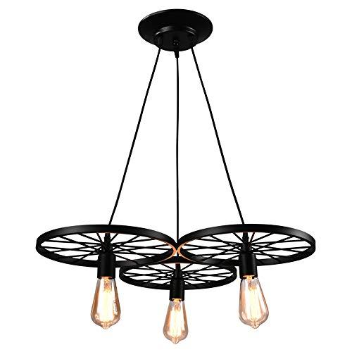 Retro Pendelleuchte LED Vintage Industrielle Pendellampe Schwarz Rad Art Lampe Höhenverstellbar 3-flammig Esszimmerlampe E27 Lampenhalter für Wohnzimmer Esszimmer Schlafzimmer Studie Loft Bar Cafe