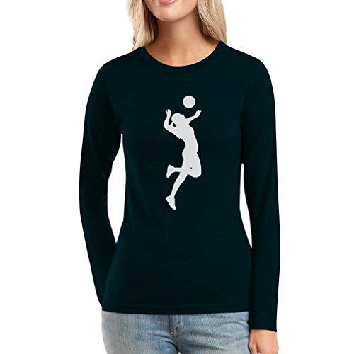 Damen Volleyball Silhuette Fanartikel Geschenk Frauen Langarm-T-Shirt Large Schwarz