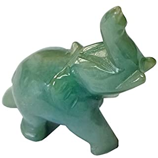 Kaltner Praesente gift idea, decorative elephant figurine with trunk upwards as a good luck charm, from the gemstone jade, jadeite (dimensions approx. 39 mm x 42 mm).