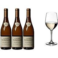 Vignerons de Bel Air Bourgogne Blanc Grand Cadole Cuvee Wine 2013  75 cl (Case of 3) and Riedel Vinum Chardonnay / Chablis Set of 2 Glasses