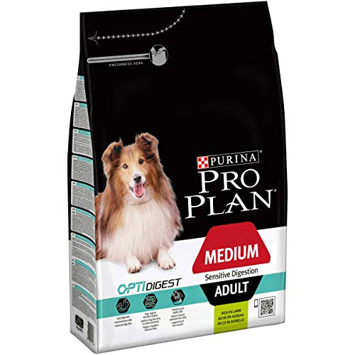 Purina PRO PLAN DOG Medium Adult, Hundetrockenfutter, für sensible Verdauung mit OPTIDIGEST, reich an Lamm, Premium Hundefutter