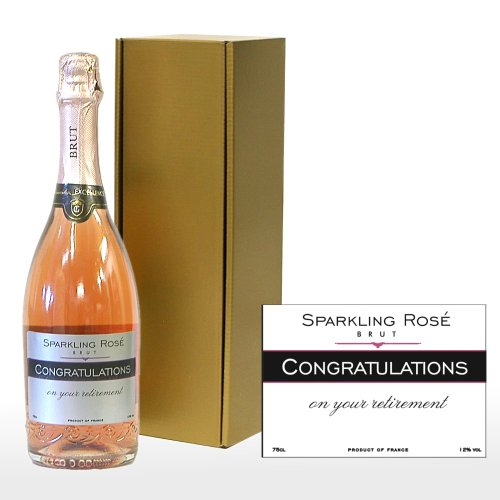 PERSONALISED 'Congratulations On Your Retirement' Sparkling Rose in a Gift Box - 750ml Fine Sparkling Rose Wine with 'Congratulations On Your Retirement' on the Label in a Gold Gift Box