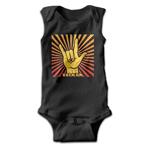 Monicago Neugeborenes Baby Jungen Mädchen Babybody Langarm, Rock On Roll Hand Pattern Cute Infant Baby Kids Sleeveless Toddler Climb Jumpsuit|Crawling Clothes Unisex Rock Roll Baby Onesies