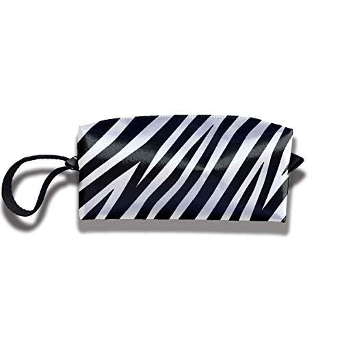 Zebra Black and White Graphic Cosmetic Bag with Zipper Organizer Storage Bag for Women's Accessories Toiletry Travel Bag BB408B -