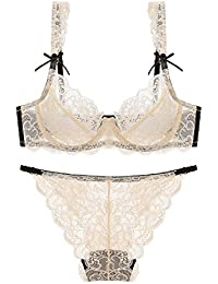 83722cbaa7e7 Junkai Women Lingerie Set - Lace, Sexy, Transparent, See-Through, Underwire  Bra + Knickers, Briefs, Panties,…