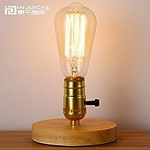 injuicy iluminación Loft Vintage Industrial E27LED lámpara de mesa de madera antiguo retro Edison Bombilla Lámpara de escritorio de madera 220V, madera maciza, Dimmer Switch 60.00 wattsW