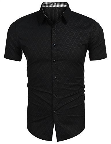 Männer Shirt Kurzarm Slim Fit Freizeithemden karo kariert Casual schwarz l (Karo Kurzarm Herren Hemd)