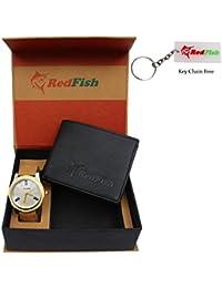 RedFish Men's Stylish Watch And Black Wallet Combo - (RDF-1001-AV)