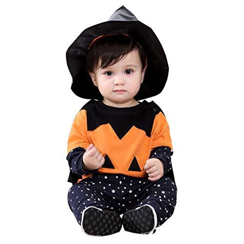 Baby Halloween Kostüme, Kürbis T-shirt + Hose + Cape + Hexenhut 4pcs Anzug