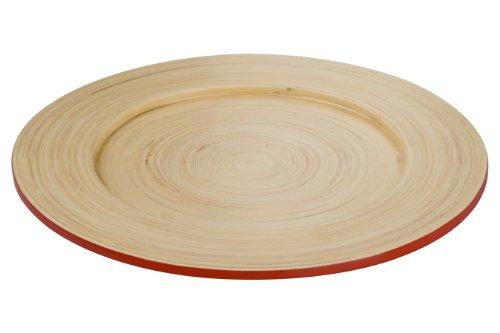 Premier Housewares 1104370 Kyoto Assiette en Bambou Rouge