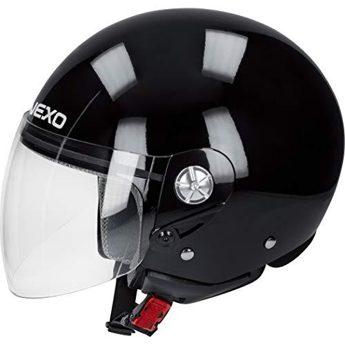 Nexo Motorradhelm, Halbschalenhelm, Jethelm Demi Jet Helm City schwarz M, Unisex, Chopper/Cruiser, Ganzjährig, Thermoplast