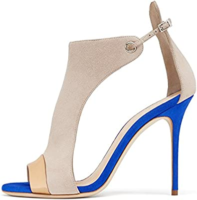 aiweiyi Womens tacón puntera abierta correa de hebilla zapatos de plataforma de vestido de fiesta Casual sandalias de bomba