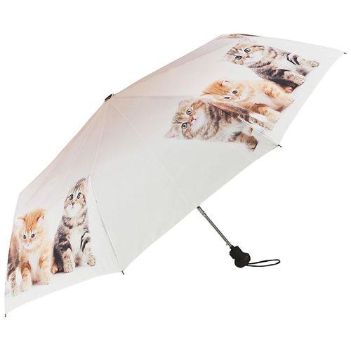 VON LILIENFELD Regenschirm Taschenschirm Automatik Damen Katzentrio