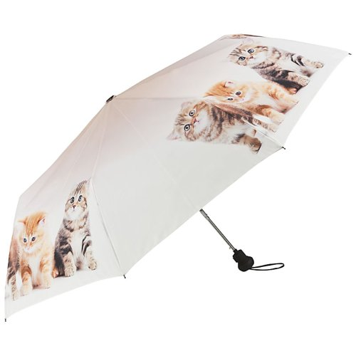 VON LILIENFELD Paraguas Bolsillo Plegable Mujer Automática Motivo Trio de Gatos