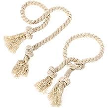 BTSKY Un par de Abrazaderas de Borla de Cordón para Cortinas Tejidas Artesanales Cuerdas de Nudos