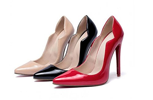 Pompe tacco a spillo eleganti punta-punta delle donne casuali di lavoro Simple Shoes Europa formato standard 34 35 36 37 38 39 40 41 42 43 44 45 46 Red