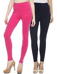 Sakhi Sang Leggings Pack of 2 : Fuchsia Pink & Navy Blue