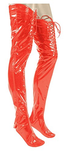 Ledapol - Heiße Lack Bettstiefel / Overknees rot - Gr. XL