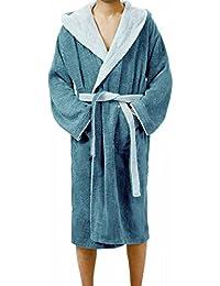 Bademantel Damen & Herren Lucca Saunamantel Frottee, Kapuzenbademantel aus Baumwolle wahlweise: blau, rot, grau, türkis, graublau, aquamarin oder weiß