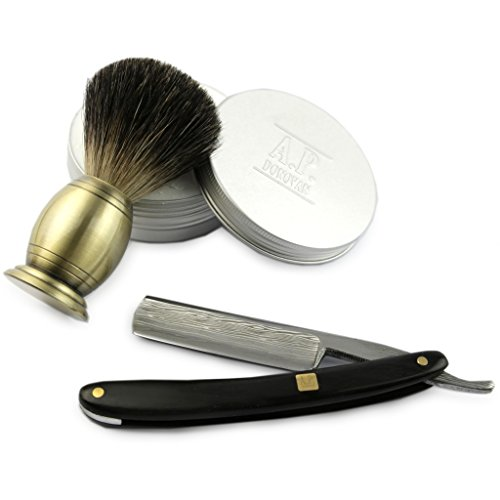 """A.P. Donovan - Luxus 7/8\"""" Rasiermesser - mit einer Damaststahl-Klinge - schwarzer Sandelholz-Griff - mit Rasierpinsel + Seife - Einsteiger-Set"""