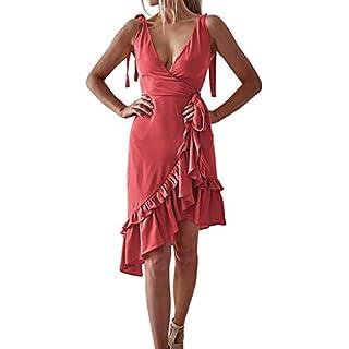 BestShope ♞♜♛ Damen Freizeitkleider, Röcke ärmelloses V-Ausschnitt Rüschen Wickelkleid Asymmetrische Sommer Sommerkleid UrlaubPolyester Strandkleider Unterröcke Dirndlblusen Für Frauen Mädchen