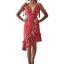 Dorical Vestido De Mujer Moda Casual Color Sólido Estilo De Verano Sin Mangas con Cuello En