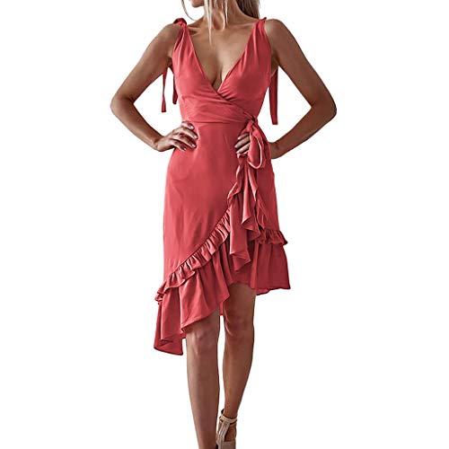 Sommerkleid für Damen/Dorical Frauen A-Linie V-Ausschnitt Ärmellos Rüschen Wickelkleid Sommer Urlaub Kleid Sexy Strandkleider Minikleid Casual Kleid mit Bandage S-XXL(Rosa,XX-Large) -