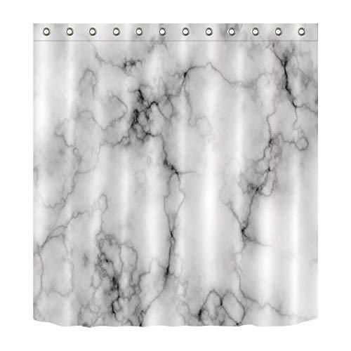 LB Schwarz, weiß, grau Marmor Duschvorhang für Bad, 150W x180H (60W x72H Zoll), wasserdicht, Polyester Stoff, Kunst Bad Set mit Haken/Ring