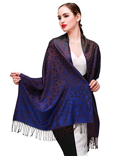 Shmily Girl Damen Schultertuch Stola - Eleganter Pashmina Schal mit floralem Muster in vielen Farben (One Size, Blau-c071)