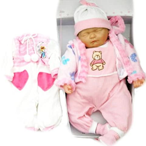 New Born Sleeping Soft Bodied Baby Doll with 2 Outfits & Gift Box Toy 18