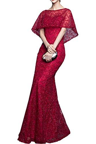 Missdressy Damen Fashion Ballkleider Meerjungfrau Cocktailkleider Träger Spitze Mit Bolero Lang Abendkledier Dunkelrot