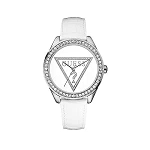 Guess Mini Triangle - Reloj de cuarzo para mujer, con correa de cuero, color blanco de Guess