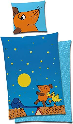 Die Sendung mit der Maus Kinder-Bettwäsche Nacht Blau 135 x 200 cm + 80 x 80 cm 100% Baumwolle Linon Renforcé Maus Elefant Ente Bettzeug Bett-Bezug Kissen-Decken-Bezüge Mond Sterne deutsche Größe