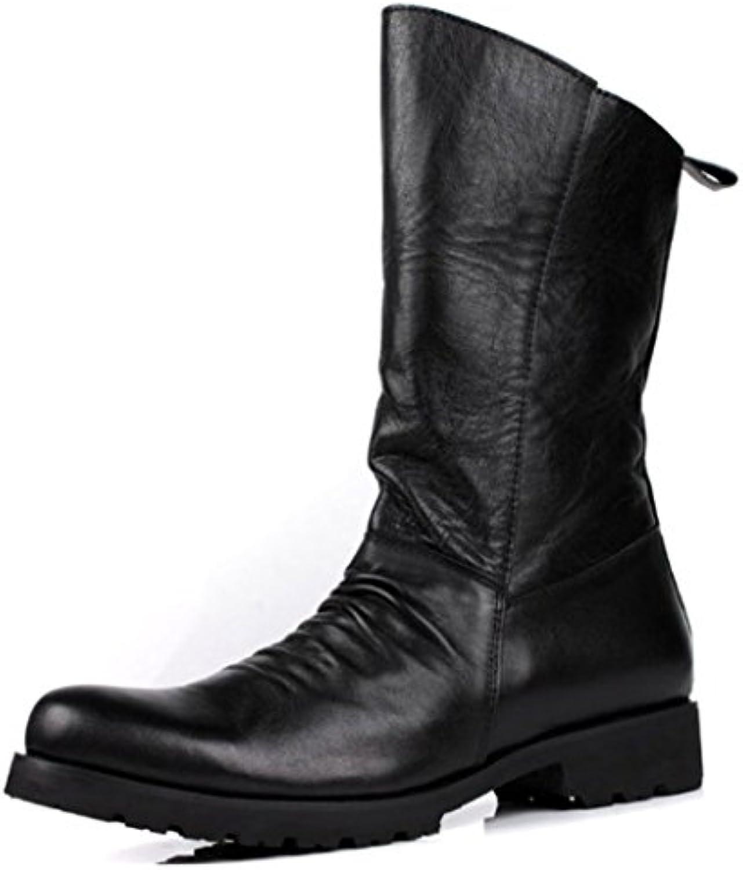 NIUMJ Herren Martin Stiefel Einfach High Top Lederstiefel Faule Schuhe Reißverschluss Bequem Verschleißfest Rutschfest