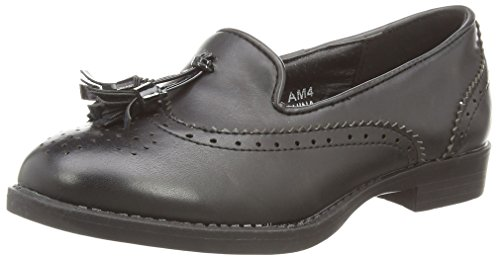 Spot On H3037, Mocassins fille Noir (black Pu)