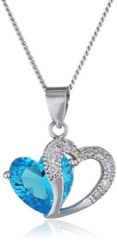 Floray Collana con un cuore di cristallo blu