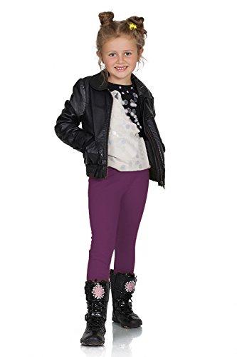 FUTURO FASHION® - Mädchen Leggings aus Baumwolle - warm & dick - lang - einfarbig - 2-13 Jahre - Pflaume - 10 Jahre